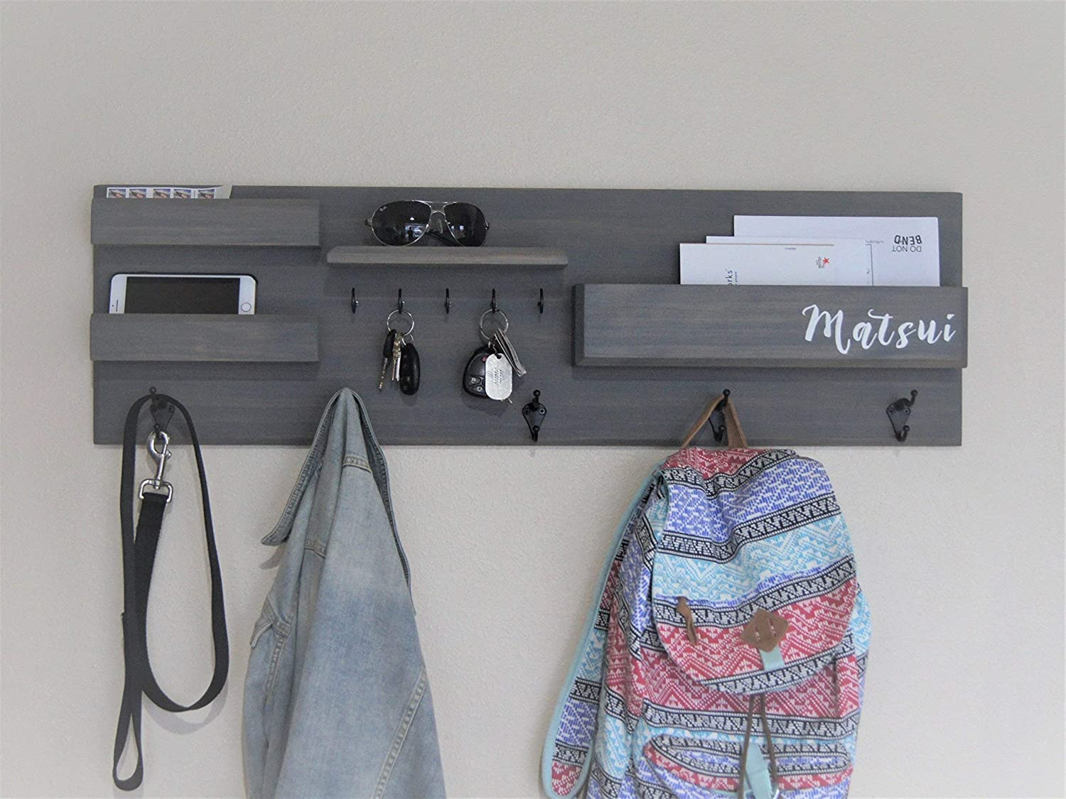 Entryway Organizer Coat Rack with Storage Handmade Driftwood Gray