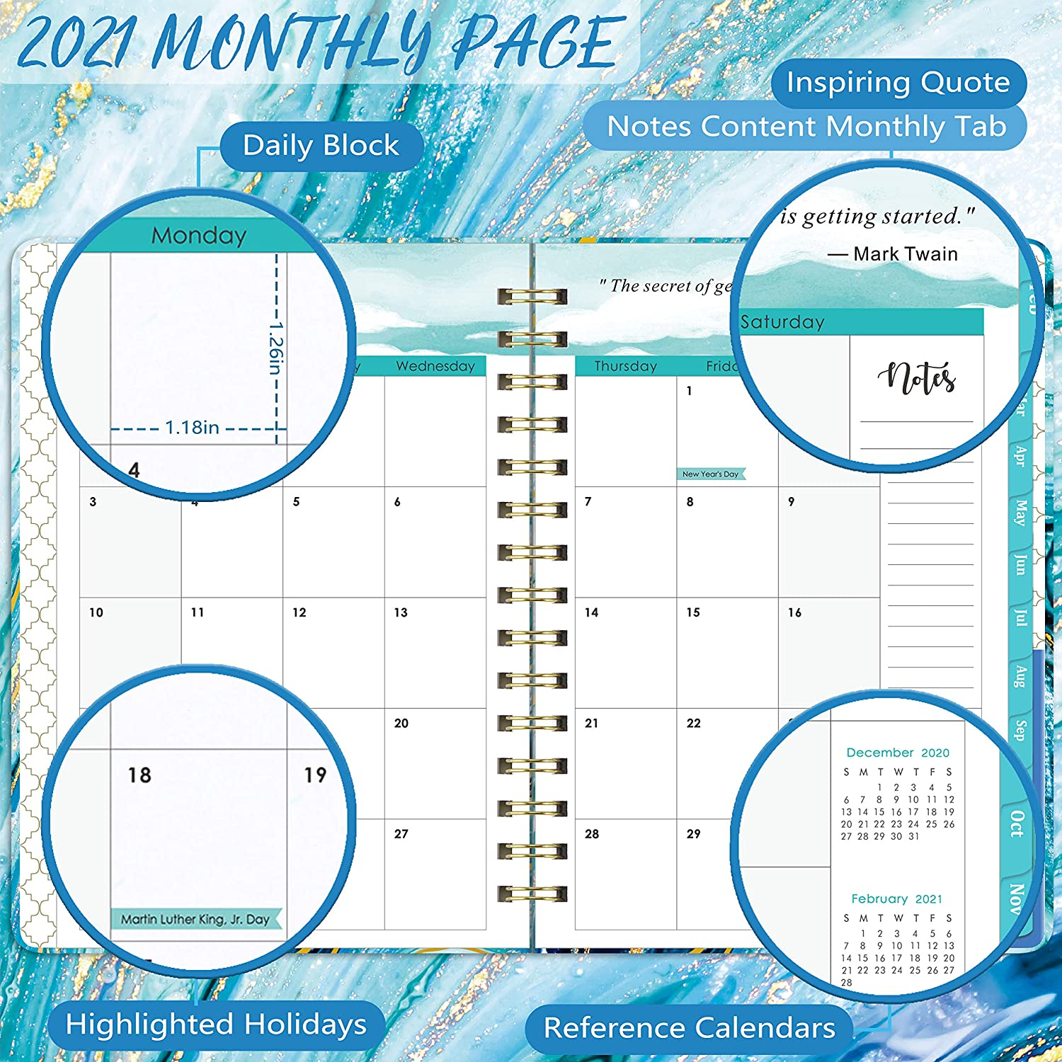 6.4x 8.5 December 2021 Coated Tabs Inner Pocket 2021 Planner Flexible Cover Planner with Elastic Closure Weekly Monthly Planner 2021 for January 2021