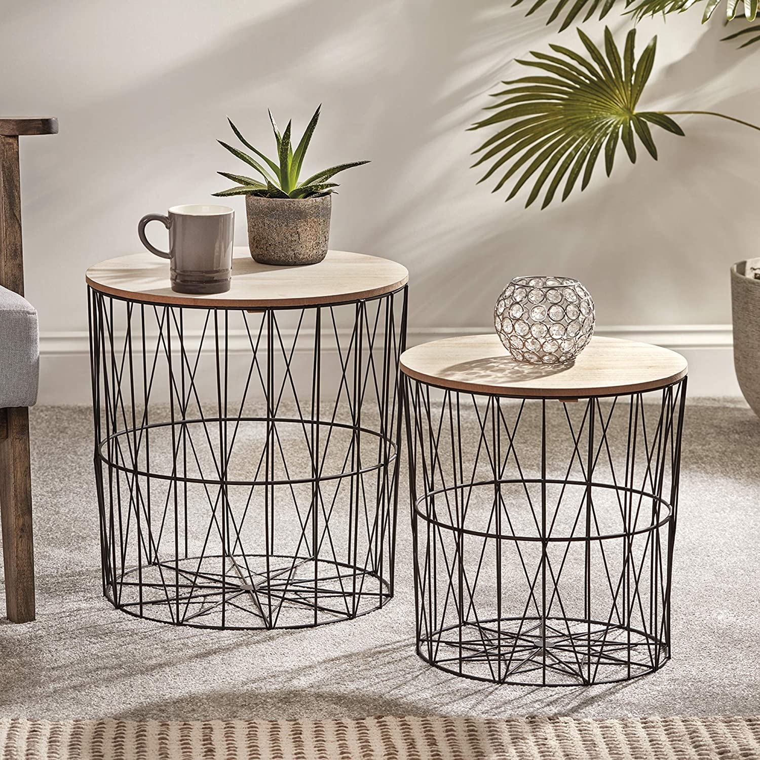 Your Home 2 Metal Wire Coffee Tables, Geometric Design, Occasional Side Table with Round Removable Top for Storage (Rose Gold) Black