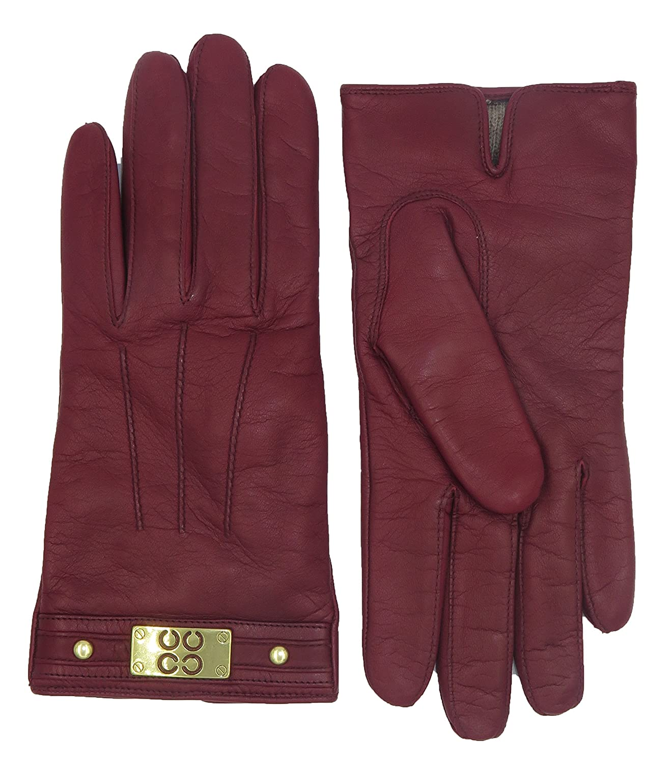 Coach Woman's Cranberry Red Leather Cashmere Lined Logo Winter Gloves F82045