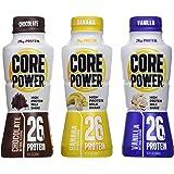 Core Power 26 Gram High Energy Protein Shake Bundle: 12 Bottles in 3 Flavors: 4 Banana, 4 Chocolate, 4 Vanilla