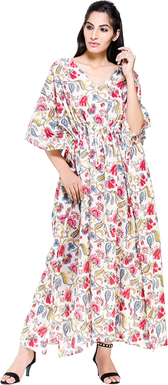 Indian Cotton Paisley Block Printed Kaftan For Women Long Kaftan Dress,Sexy Beach Wear Bikini Cover Up Hippie Style Maxi,Vintage Tunic Kurta