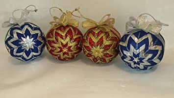 beautiful christmas ornaments balls set 4pcs quilted handmade in two colors 4quot - Beautiful Christmas Ornaments