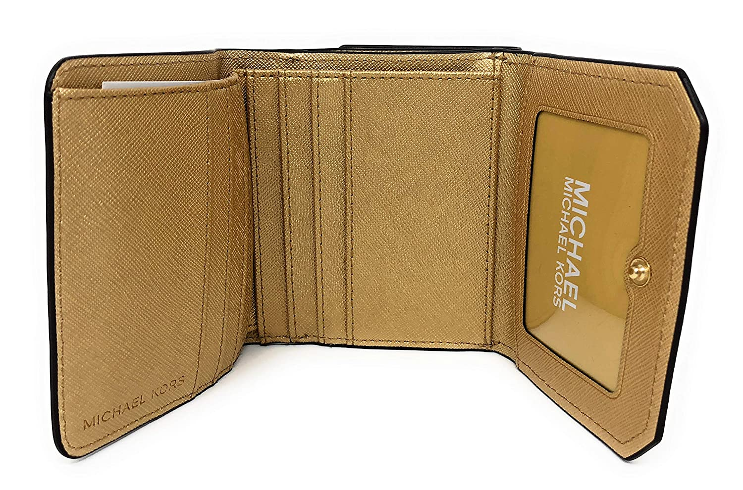 685c05b15e01b Amazon.com  Michael Kors Hayes Medium Trifold Coin Case Leather Wallet in  Gold  AAfashiondistrict
