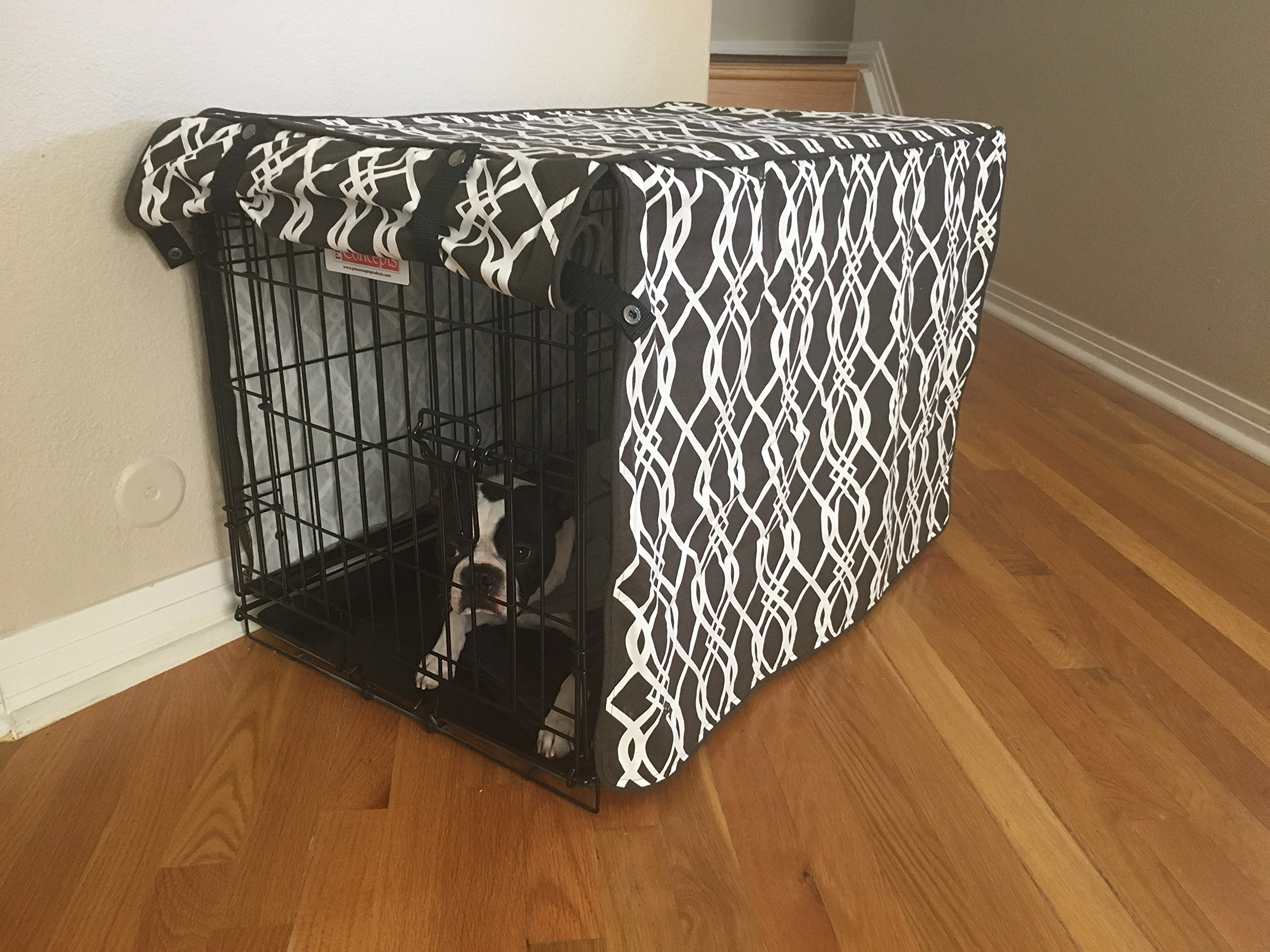 528 Zone Modern Brown & White Designer Dog Pet Wire Kennel Crate Cage House Cover (Small, Medium, Large, XL, XXL) (XXL 48x30x33) by 528 Zone