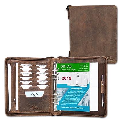 ALMADIH Carpeta de cuero A5 con cremallera Calendario 2019 + Bloc notas agenda Personal Organizador Diario Cartera de conferencias Maletin Carpeta de ...