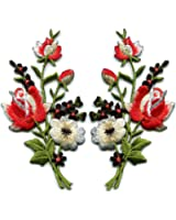 Red black roses pair flowers floral bouquet boho embroidered appliques iron-ons patches new