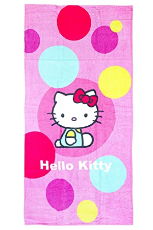 Hello Kitty - Toalla de playa, 150 x 75 cm, Original licencia oficial: Amazon.es: Hogar