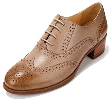 fcc3a5949b U-lite Women's Mid-Heel Perforated Lace-up Wingtip Close Front Leather Flat