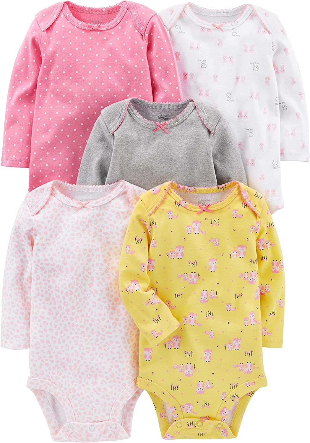 Simple Joys by Carters Baby Girls Lot de 5 bodies manches longues