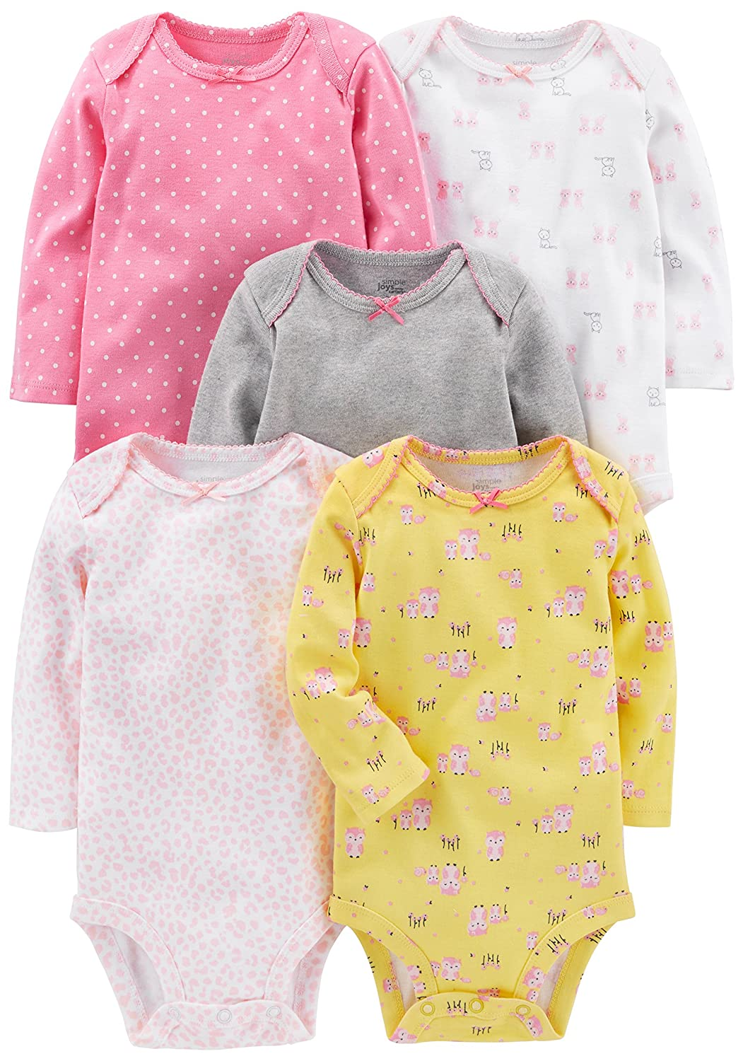 Simple Joys by Carter's Girls' 5-Pack Long-Sleeve Bodysuit Simple Joys by Carter' s 5PKBS