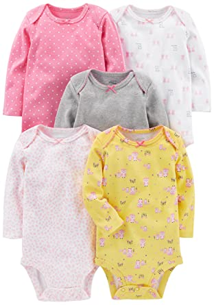 8b6683dd2 Simple Joys by Carter s Girls  5-Pack Long-Sleeve Bodysuit  Amazon ...