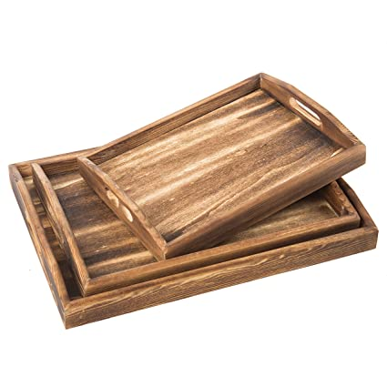 MyGift Set Of 3 Torched Wood Rectangular Nesting Breakfast, Coffee Table/Butler  Serving Trays