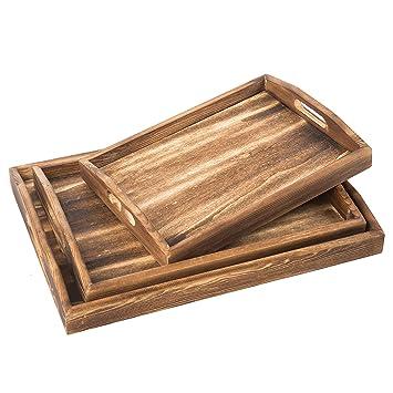 Juego de bandejas de madera rectangulares para desayuno, mesa para café, bandejas para servir: Amazon.es: Hogar