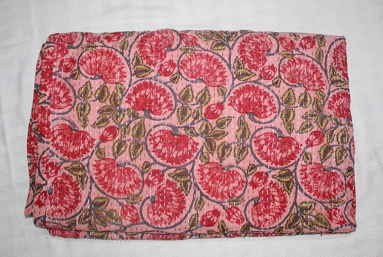 Indian handmade new floral pattern kantha quilt blanket Queen bedspread 108x90