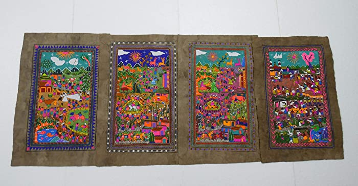 8482af7abae8c Amazon.com: 4 AMATE BARK PAINTING SET native ethnic mexican hanging ...