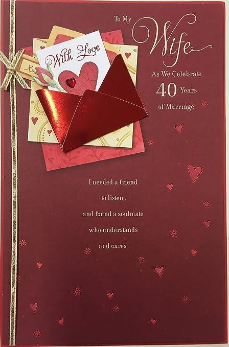 Wife ruby anniversary 40th anniversary greetings card with love wife ruby anniversary 40th anniversary greetings card with love envelope m4hsunfo