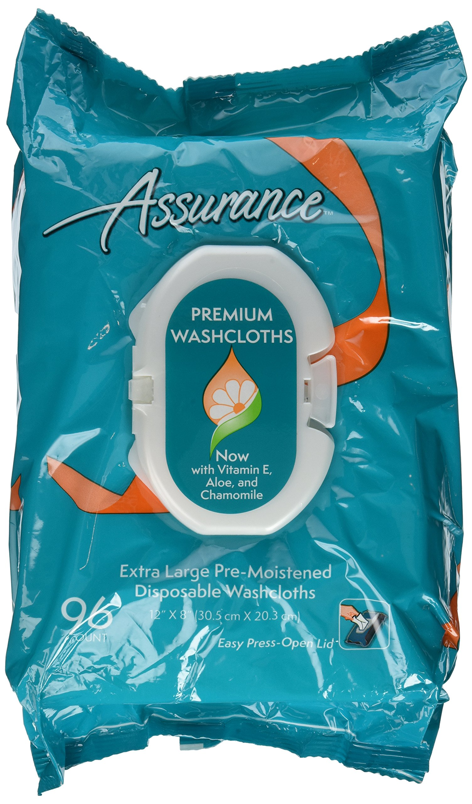 Assurance Premium Extra Large Pre-moistened Disposable Washcloths Easy Press-open Lid 96ct (2 Packs 192ct Total)