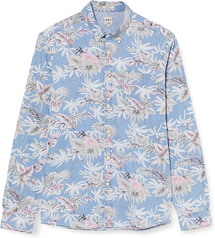 Hackett London Hkt Cham Palm Tree Camisa, Azul (564chambray 564), 42 (Talla del Fabricante: Large) para Hombre: Amazon.es: Ropa y accesorios