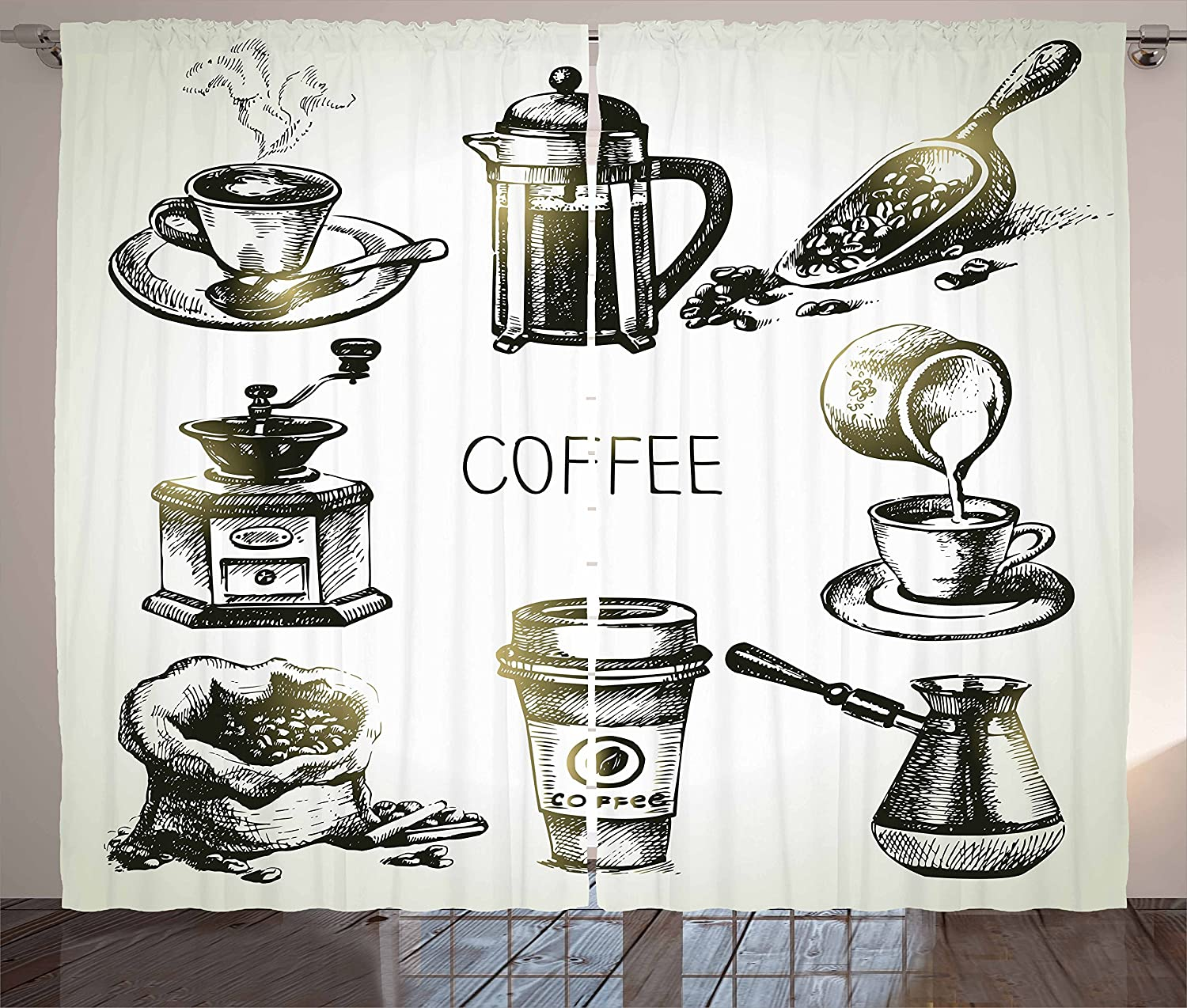 Ambesonne Coffee Curtains, Brewing Equipment Doodle Sketch Grinder French Press Plastic Cup Scoop Vintage, Living Room Bedroom Window Drapes 2 Panel Set, 108 W X 63 L Inches, Black Yellow
