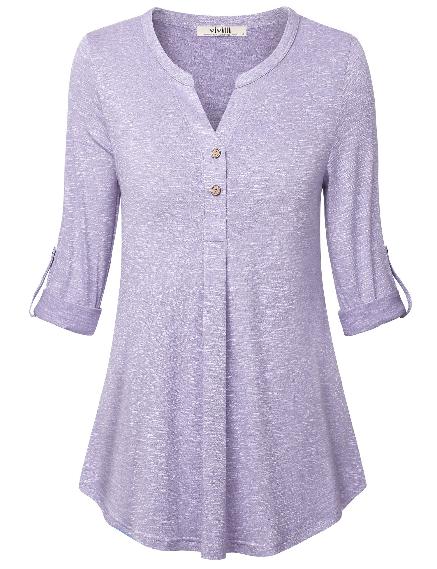 Vivilli,Tunic Tops for Women, 3/4 Sleeve Henley V Neck Blouses Casual Fitted Shirt (Large,Light Violet)