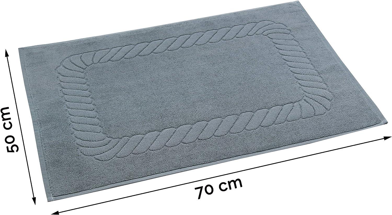 100/% Coton Gris 50x70 cm ZOLLNER Set de 2 Tapis de Bain 740g//qm