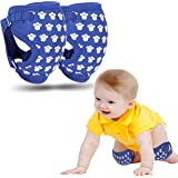 Baby Knee Pads for Crawling, Unic Design Made from Jersey Fabric, Adjustable Anti Slip Knee Pads, Gift Set for Baby Girls,Boys,Kids, Breathable Kneepads, Knee Protector (Blue,Pink) (Blue)