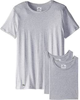 Lacoste Mens Essentials Cotton Crew-Neck T-Shirt (Pack Of ...