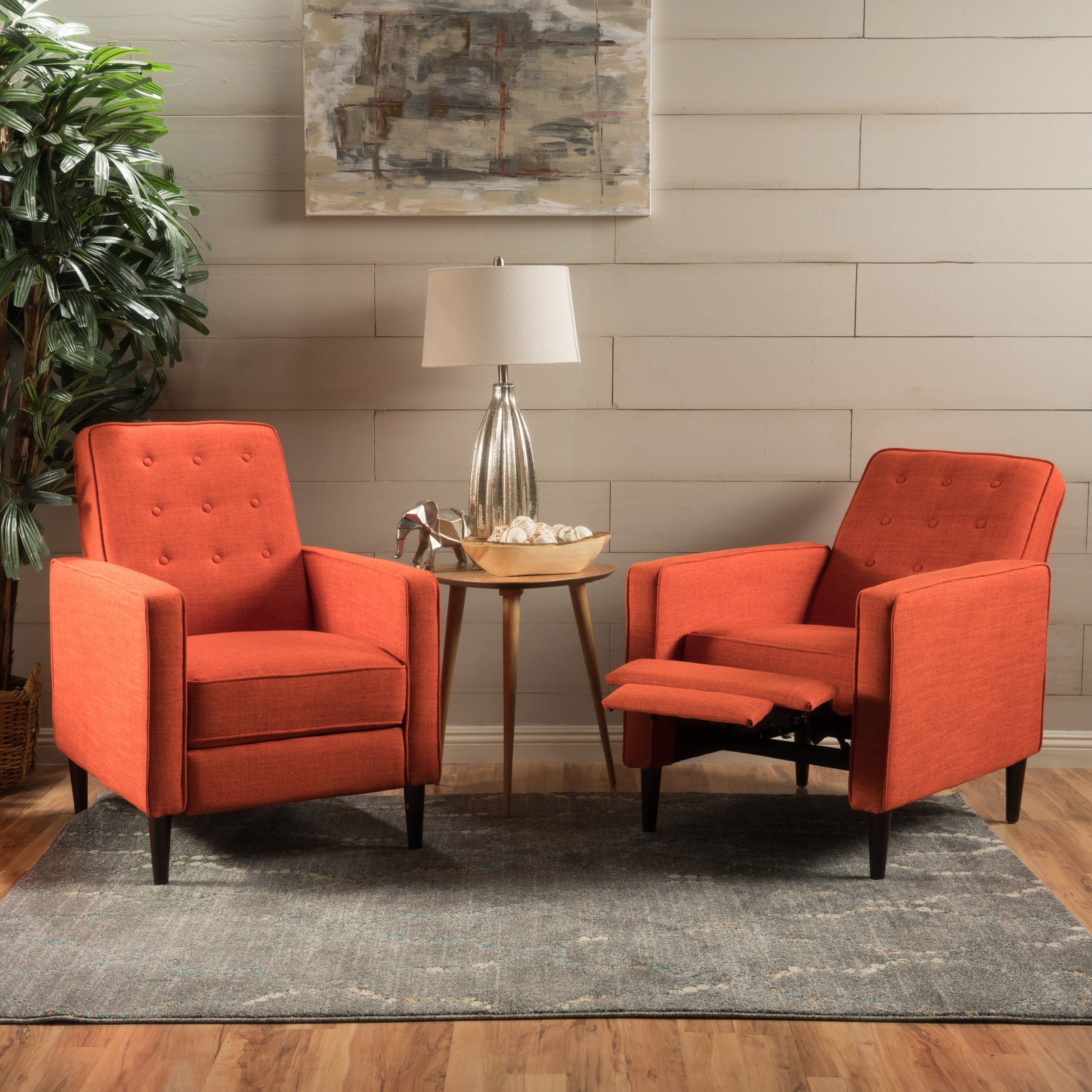 Christopher Knight Home Marston Mid Century Modern Fabric Recliner (Set of 2) (Orange), Muted by Christopher Knight Home