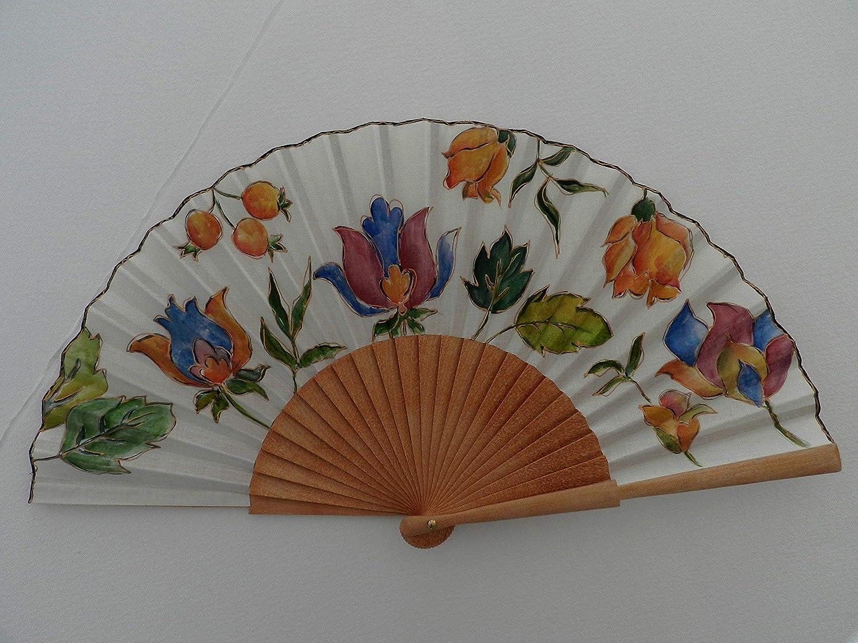 Abanico español/abanico pintado a mano/Abanico flores indias ...