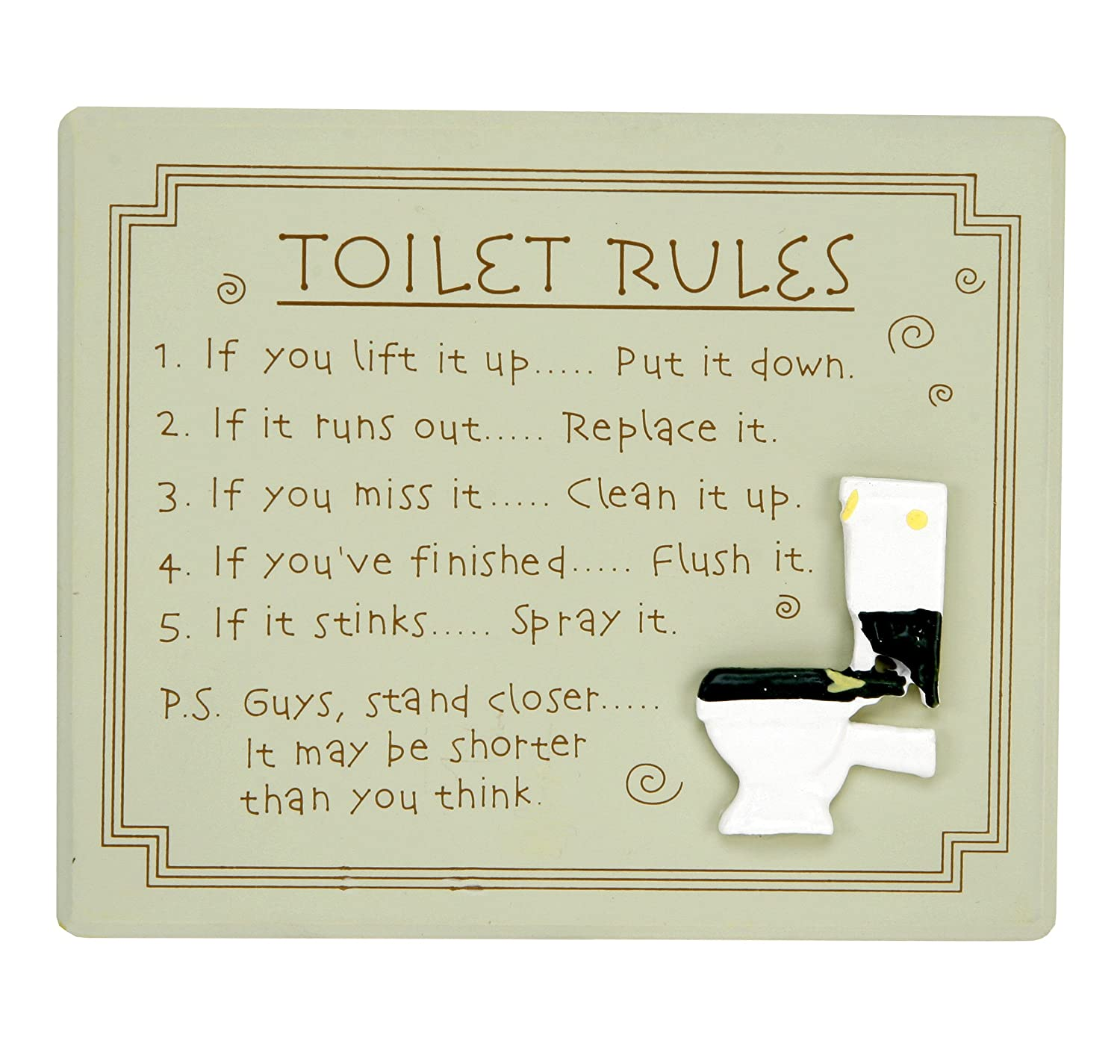 Toilet Rules Wall Plaque Amazon Co Uk Kitchen Home