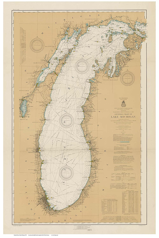 Amazon Com Lake Michigan 1915 Nautical Map Custom Print Great