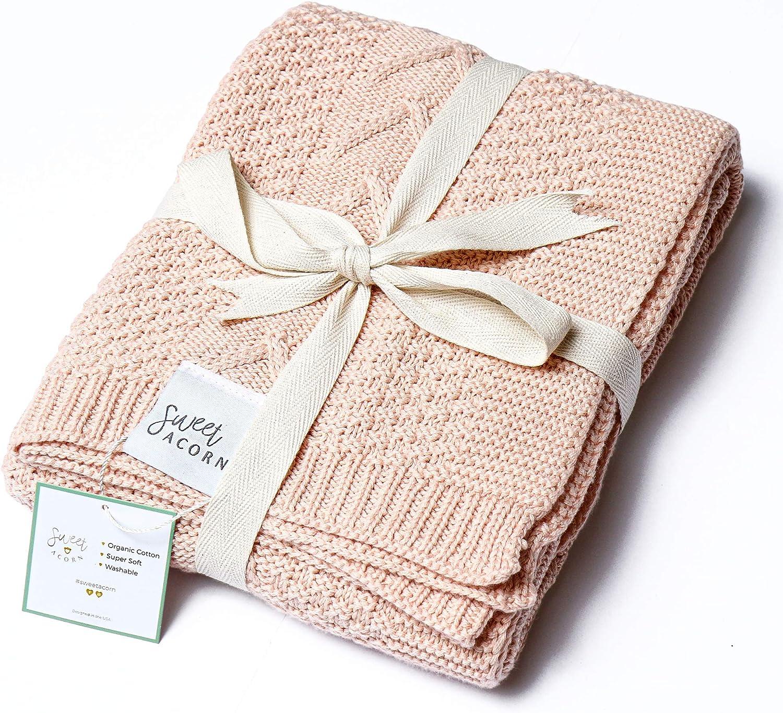 Sweet Acorn Organic Cotton Baby Blanket, Knitted Yarn (Peony)