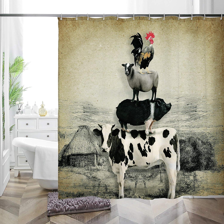 MACOFE Farm Shower Curtain Set with Hooks,Fabric Country Rustic Shower Curtain for Farmhouse Bathroom Decor,Primitive Cow Animal Bathroom Shower Curtain 72x72 Inch