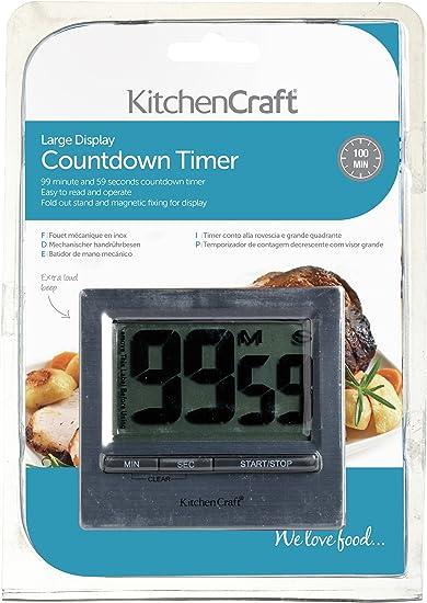 Kitchencraft Grande fácil leer Cromado Temporizador
