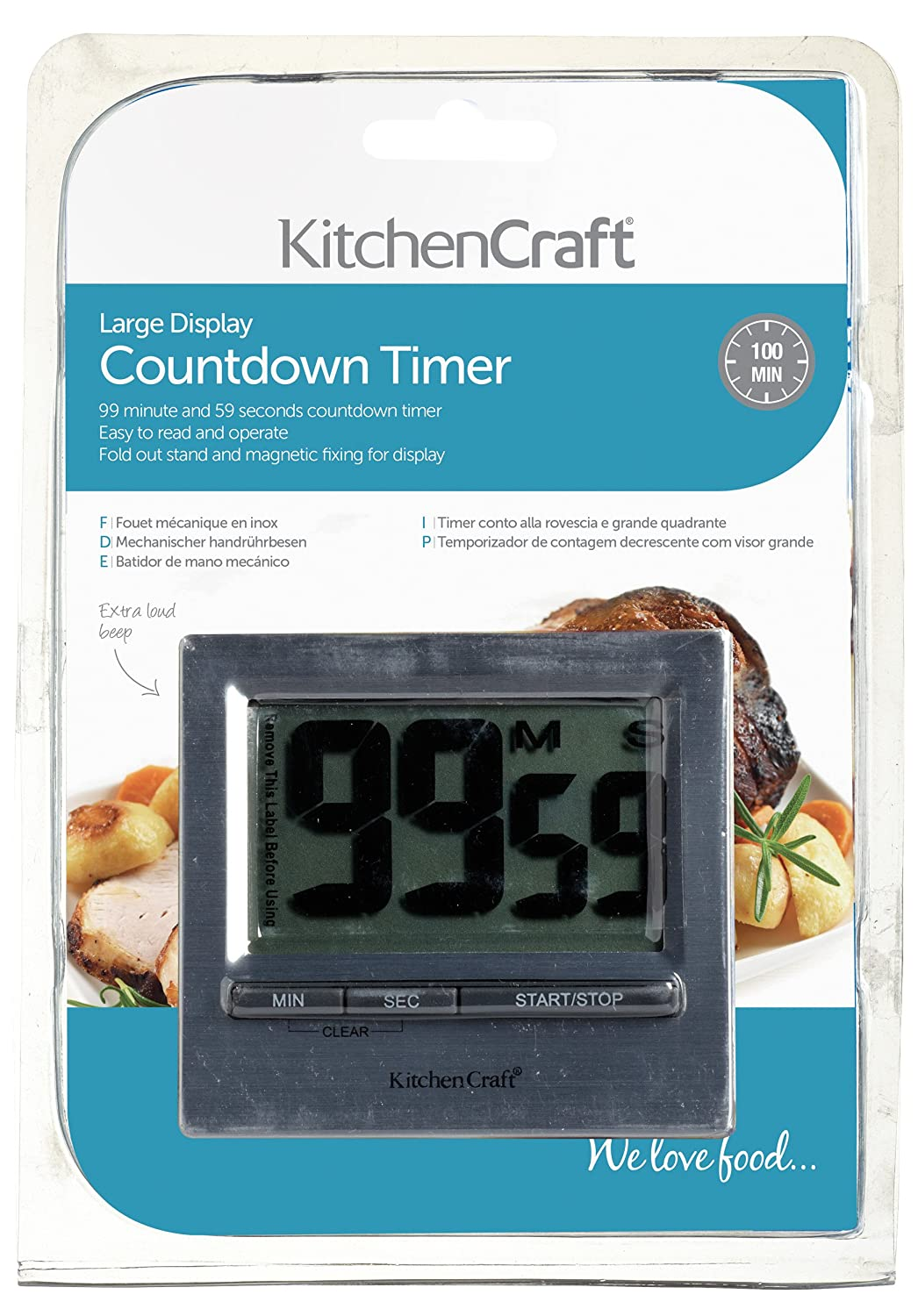 KitchenCraft Easy-Read 100-Minute Large Digital Kitchen Timer ...