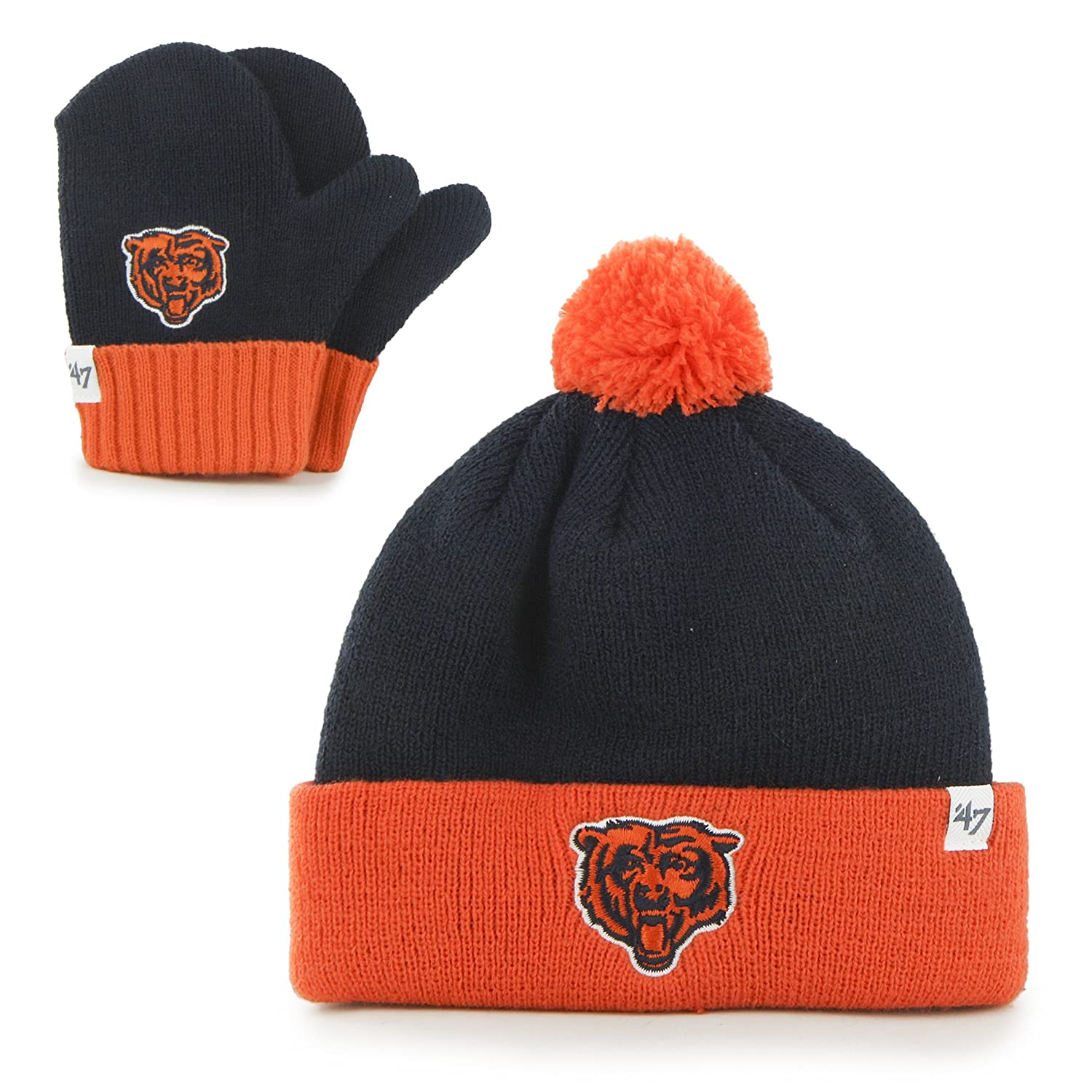 NFL Chicago Bears Toddler  47 Brand Bam Bam Cuff Knit Pom Hat and Mittens  Set 0c9546652e57