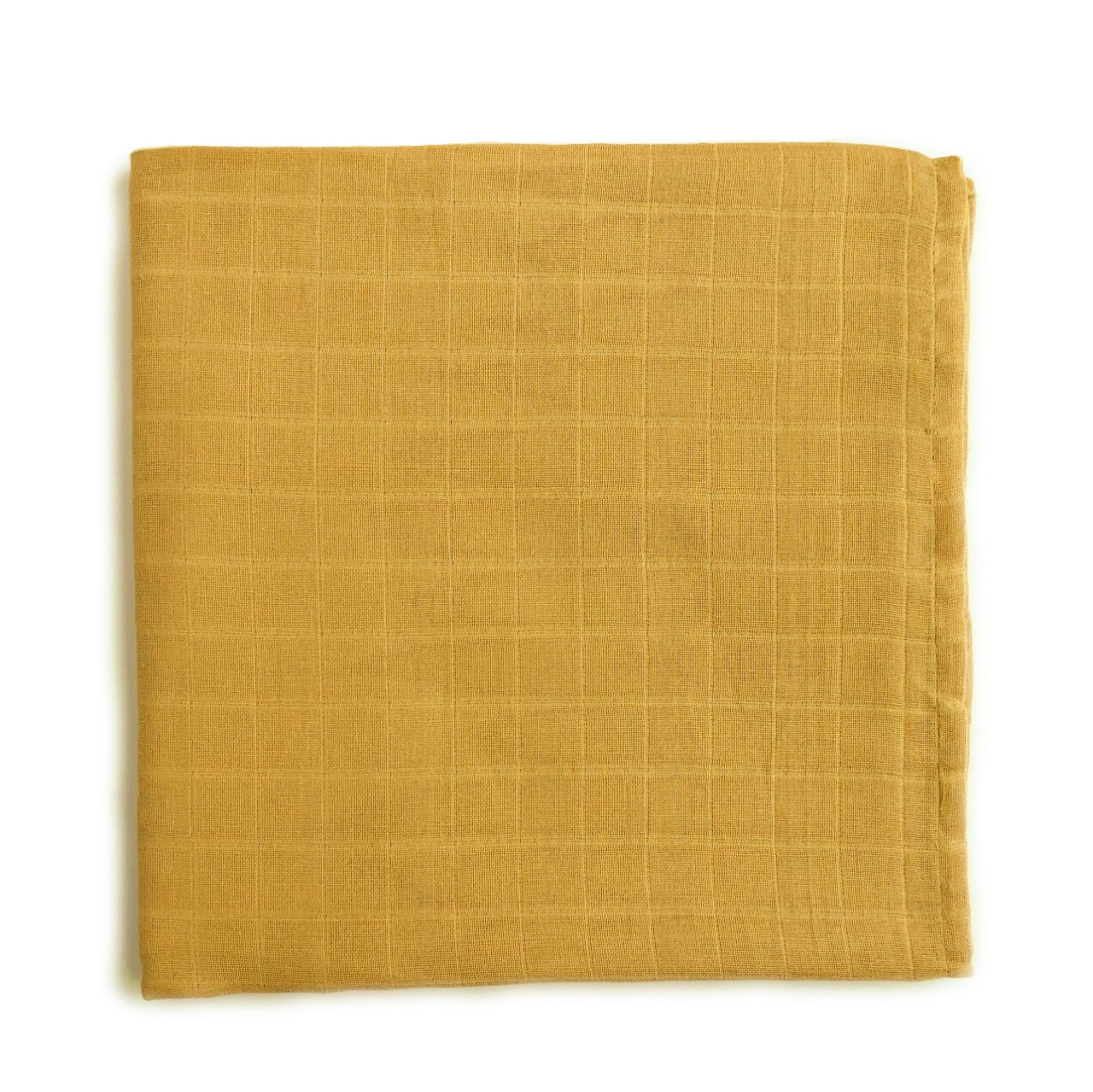The Mini Scout Muslin Swaddle Blanket - Gender Neutral Baby Swaddle Blanket (Yellow Mustard)