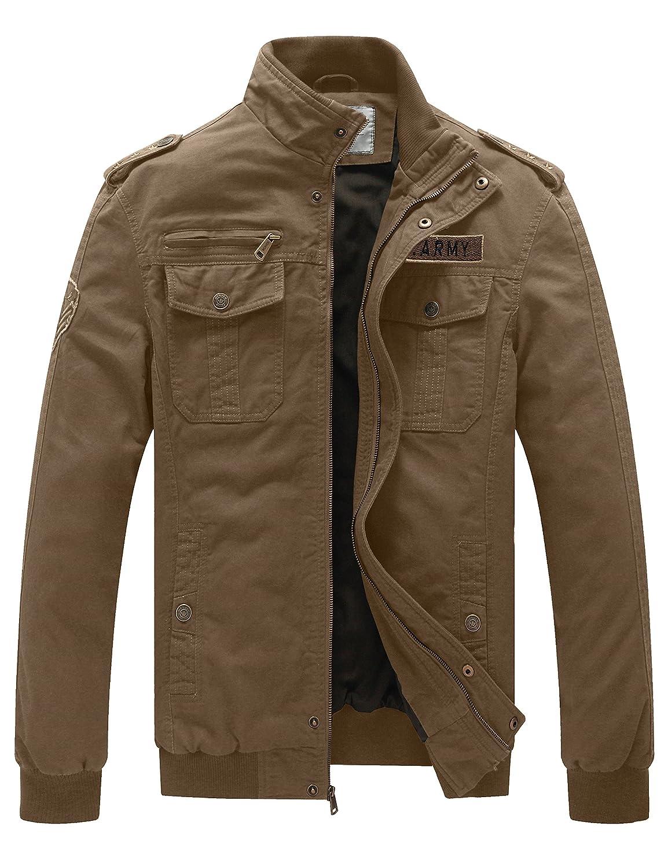 WenVen Men's Casual Cotton Military Jacket wvmena0004