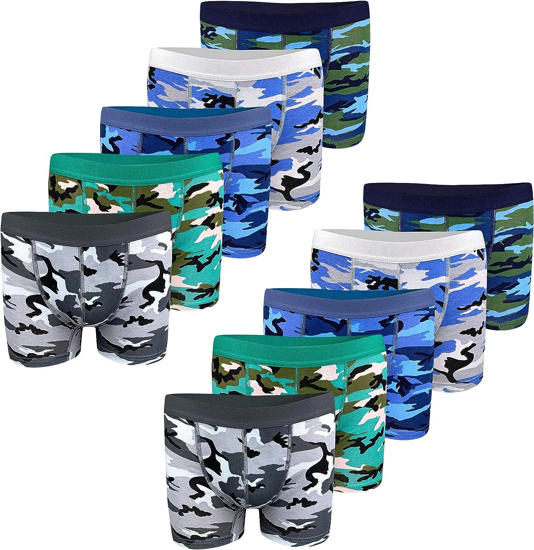 PiriModa Boxers pour gar/çon Tailles 4 /à 15 Ans Lot de 10 Motifs Camouflage en Coton