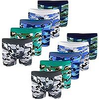 LOREZA ® 10 Calzoncillos bóxer para niño - Algodón - Motivo Camuflaje Militar - Disponibles en Tallas de 2 a 15 años…