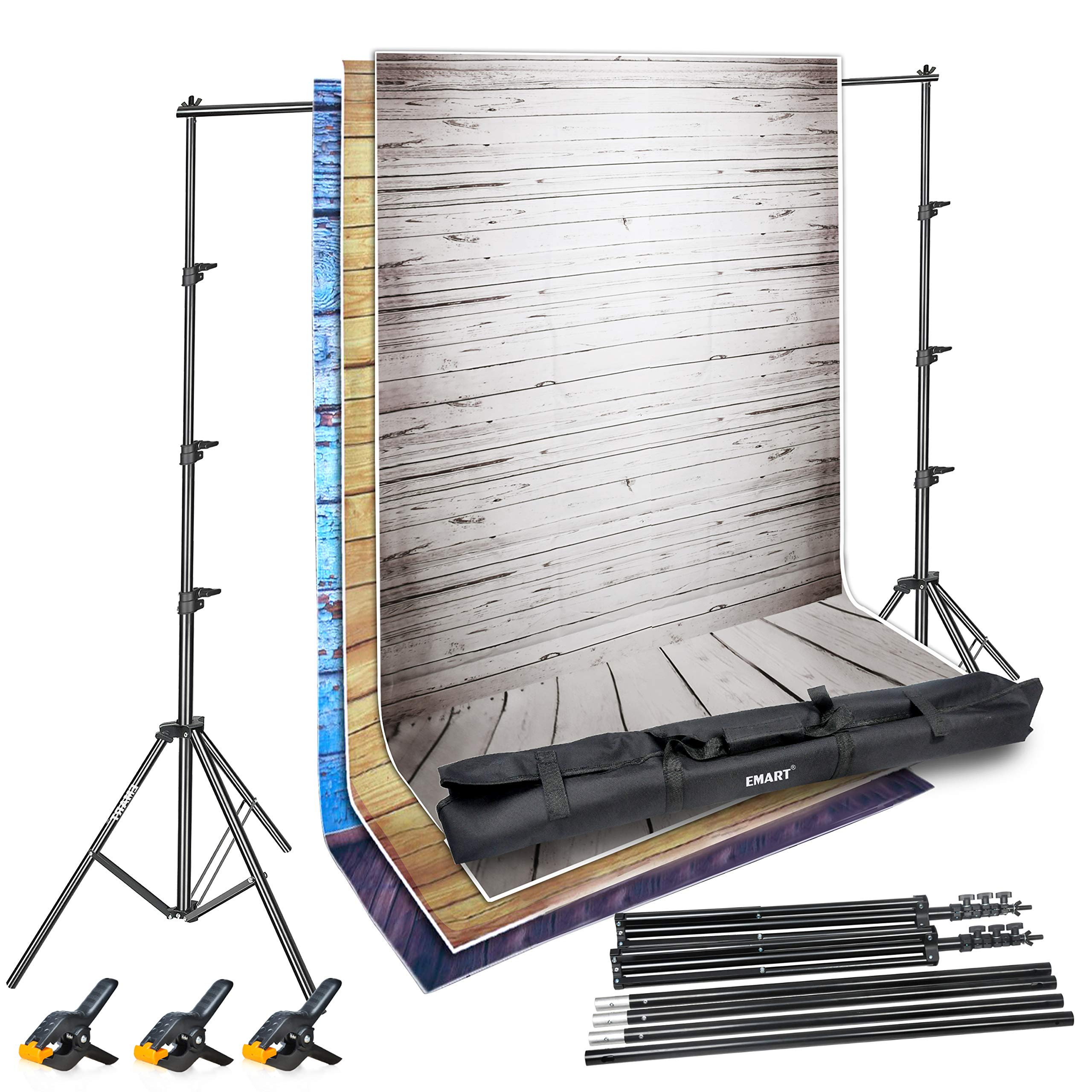 Emart Photo Video Studio Backdrop Stand Kit, 8.5 x 10ft Adjustable Photography Background Support System, 3 pcs 5x10ft Vinyl Plastic Wood Floor Screens (Blue, Rustic, White) and 3 pcs Spring Clamps by EMART