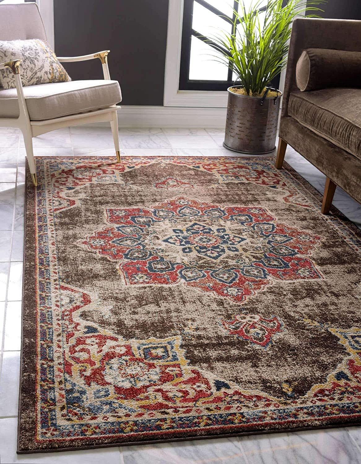 Unique Loom Utopia Collection Traditional Medallion Vintage Warm Tones Chocolate Brown Area Rug (4' 0 x 6' 0)