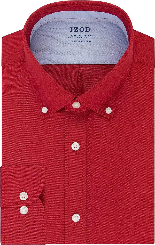 IZOD Men's Dress Shirt Slim Fit Stretch Cool FX Cooling Collar Solid