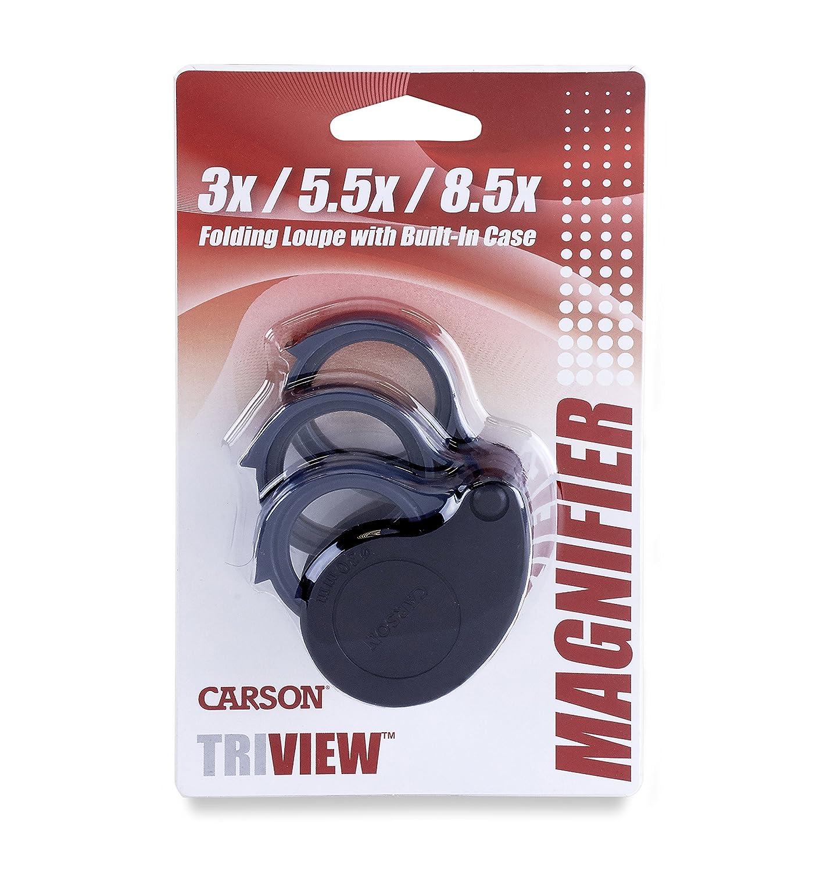 Carson TriView klappbare Taschenlupe mit variabler Vergr/ö/ßerung und fest montierter Schutzh/ülle aus schlagz/ähem Kunststoff