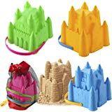JOYIN 4 Castle Beach Buckets Toy Set with Mesh Bag, 8 Inches Sandcastle Mould Pails for Kids and Toddlers Beach Party Summer