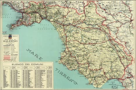 Amazon Com 20x30 Poster Map Of Salerno Italy 1966 Everything Else