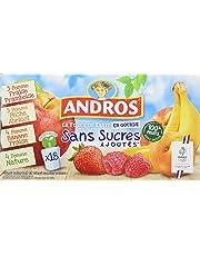 ANDROS Compotes de Fruits en Gourdes 4 Variétés Panachées sans Sucres Ajoutés 18 x 90 g