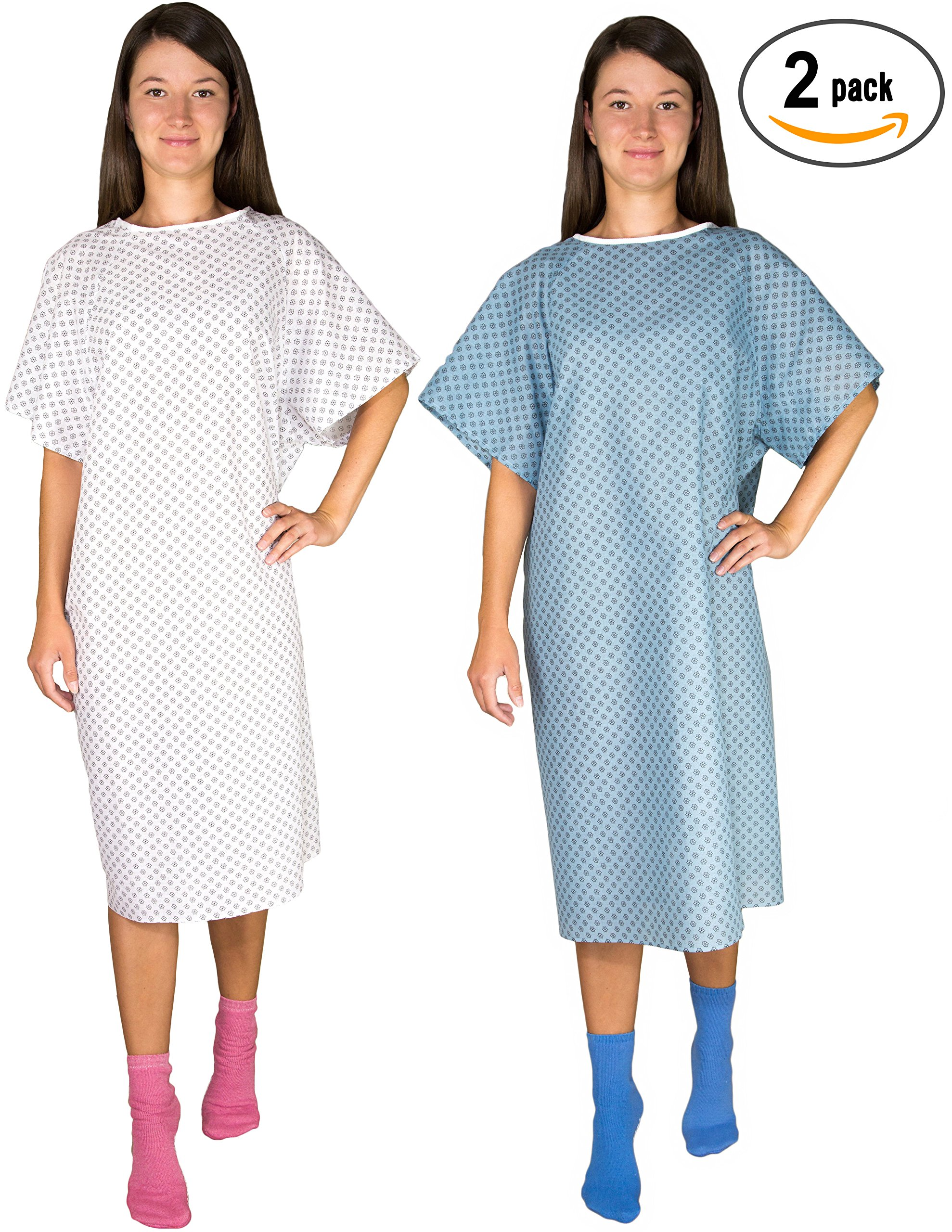 2 Pack - Blue and White Hospital Gown with Back Tie / Hospital Patient Gown with Ties - One Size Fits All