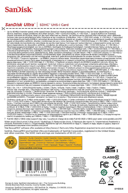 SanDisk Ultra SDHC 32GB 80MB/s UHS-I: Amazon.es: Informática